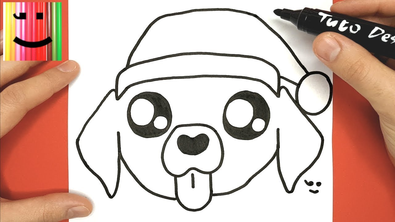 How To Draw And Color Baby Dog With Christmas Hat