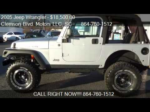 Jeep Wrangler For Sale In Sc >> 2005 Jeep Wrangler Rubicon 4 0 V6 For Sale In Anderson Sc 2 Youtube