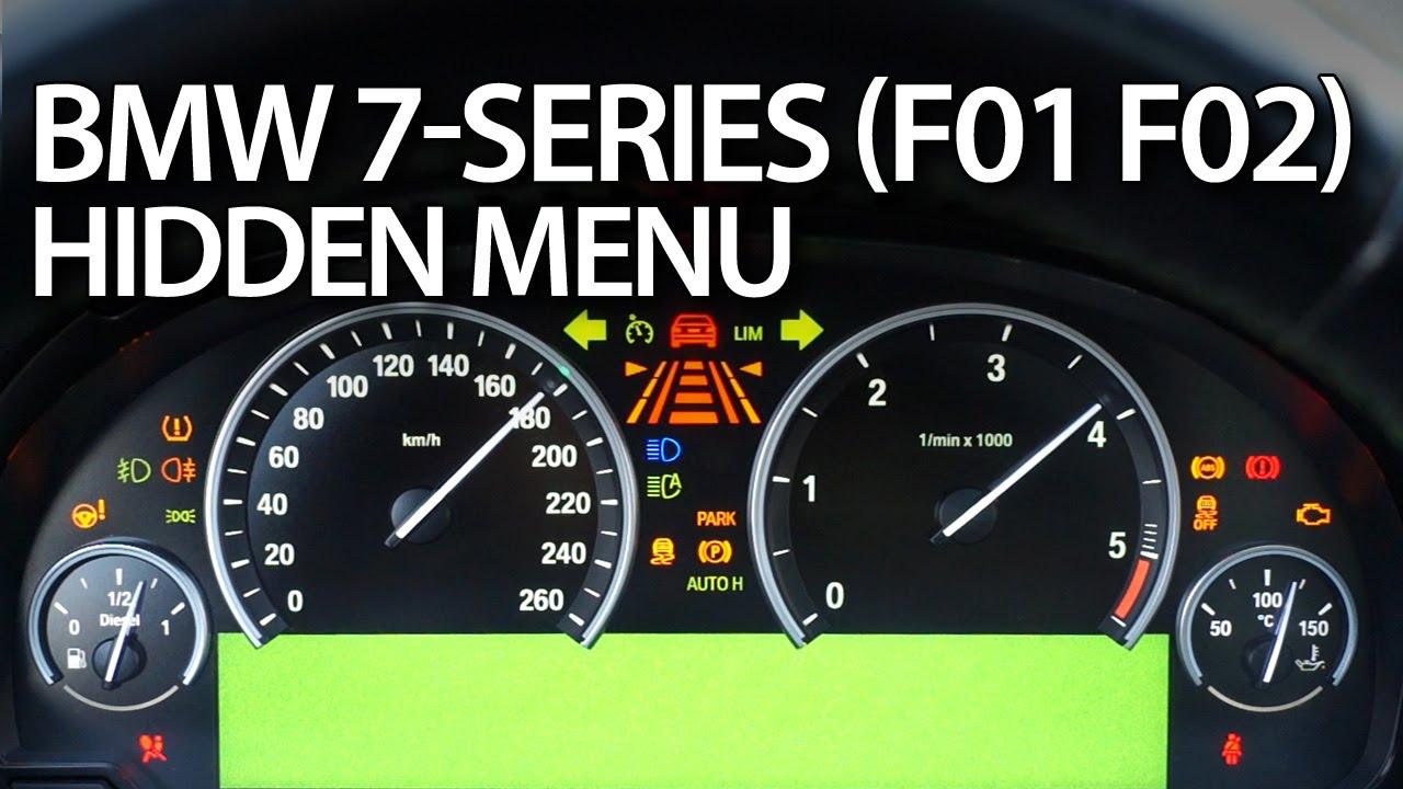 BMW 7-Series hidden menu, instrument cluster test mode (F01, F02) on