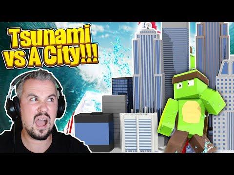 TSUNAMI VS MINECRAFT CITY CHALLENGE w/TinyTurtle