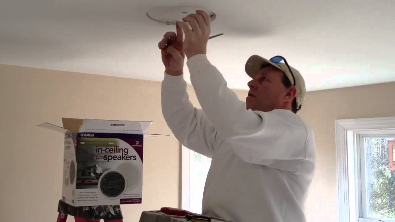how to install speakers in your ceiling youtube rh youtube com Speaker Wiring Diagram Series Parallel Speaker Wiring Diagram