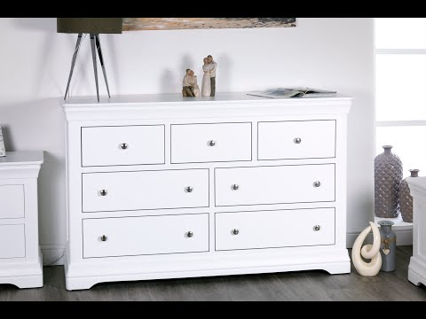 Toulouse Grande Extra Large White Painted 3 Over 4 Chest of Drawers - Top Furniture UK