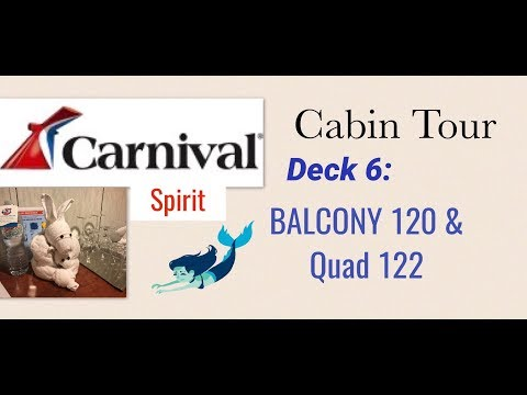 Carnival Spirit Cabin Tour - Deck 6 - Balcony 120 and Interior Quad 122