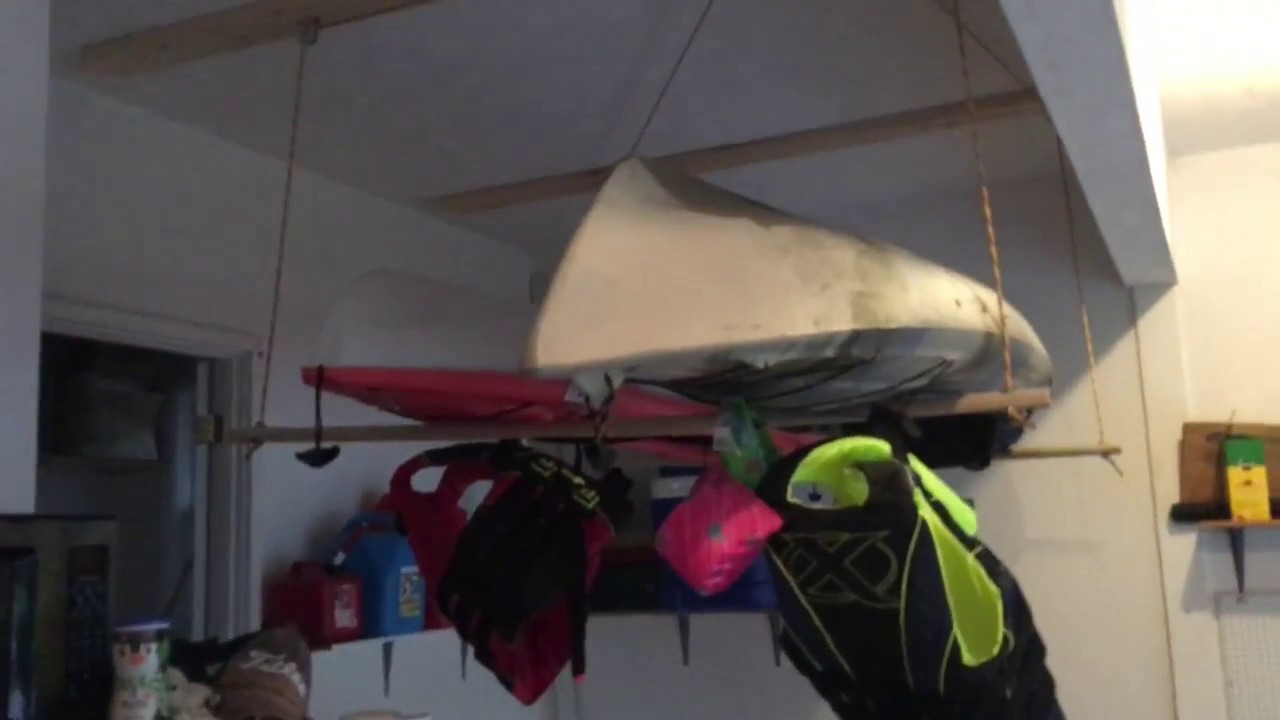 Easy DIY Double Kayak Hoist for Garage Storage Pulley