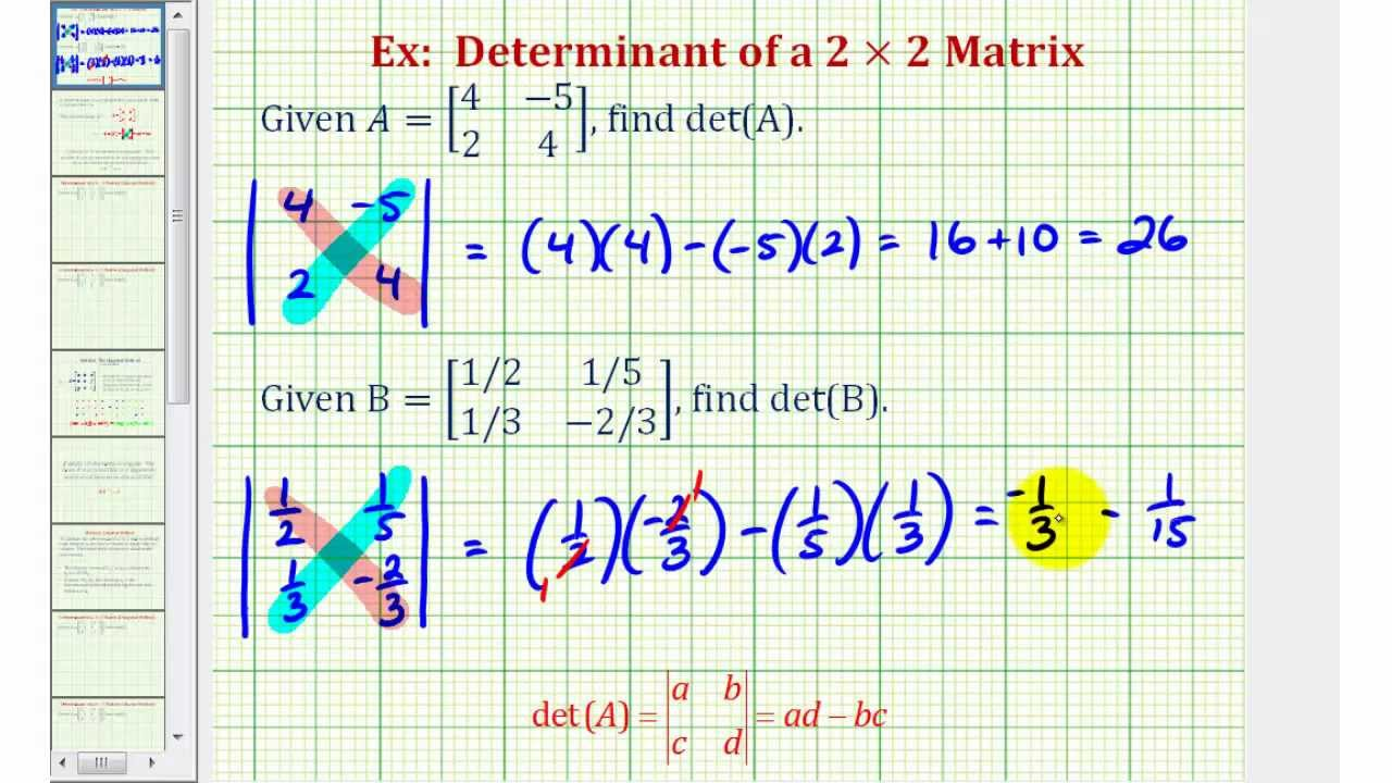 Finding the Determinant of a 2×2 Matrix (examples, solutions ... on