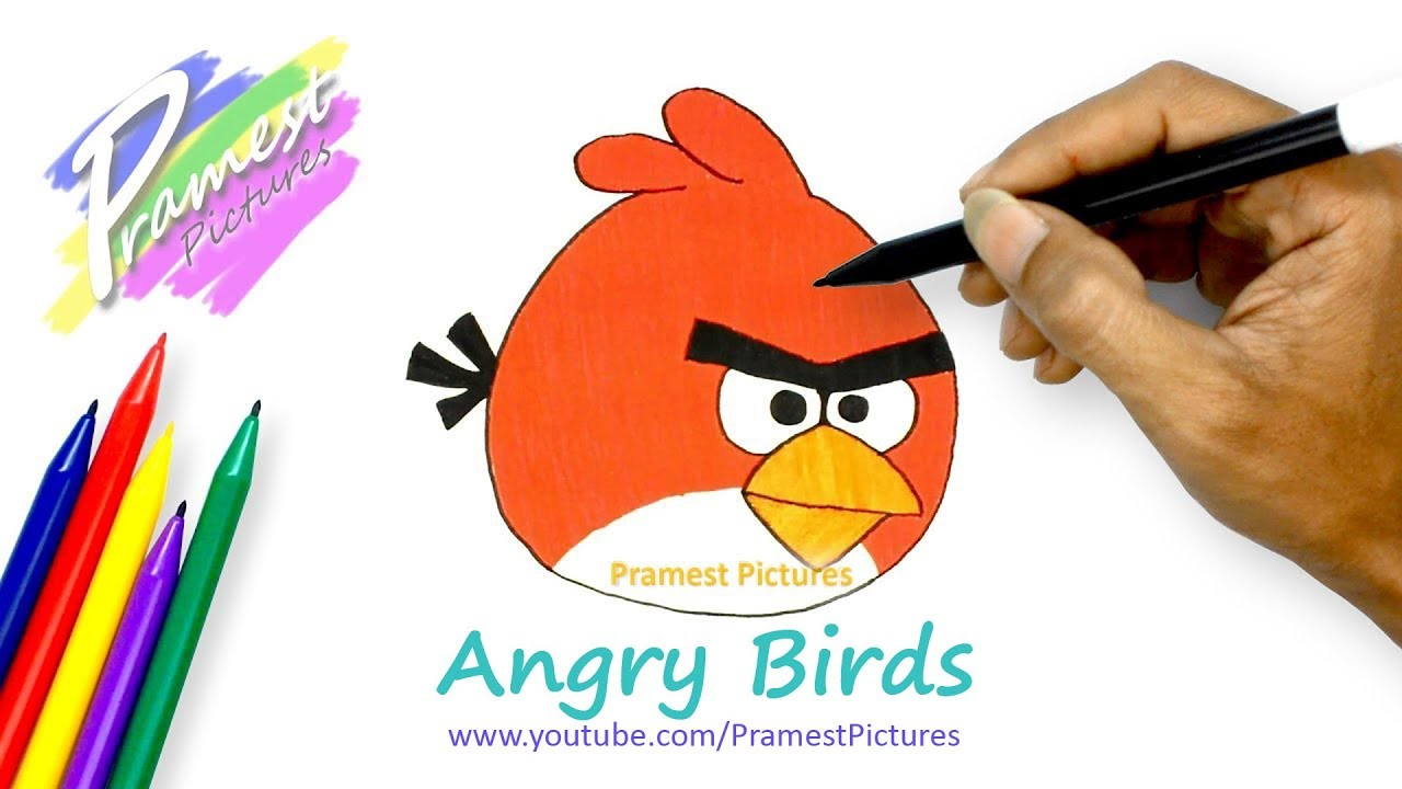 how to draw angry birds cartoon coloring pages for kids youtube