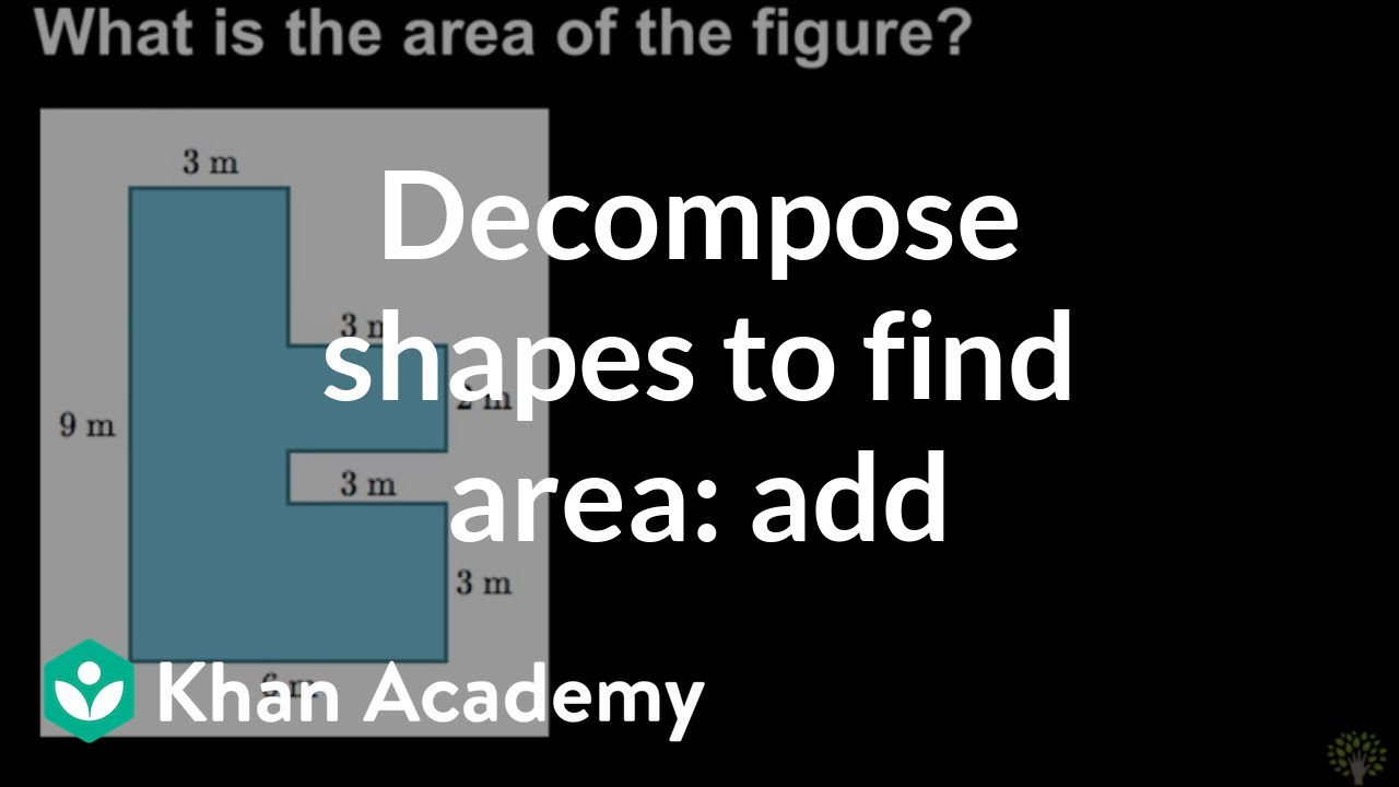 Decomposing shapes to find area: add (video) | Khan Academy