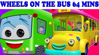 Repeat youtube video Wheels On The Bus |  64 Minutes Compilation | Lots More Nursery Rhymes