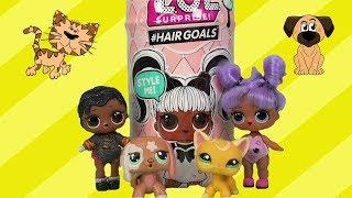 Кот и пёс ушли из дома. Мультфильм и распаковка куклы L.O.L. Surprise Hairgoals.