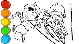 Download lagu Menggambar dan mewarnai BOBOIBOY kuasa Petir / How to draw BoBoiBoy Thunder | Super kreatif anak