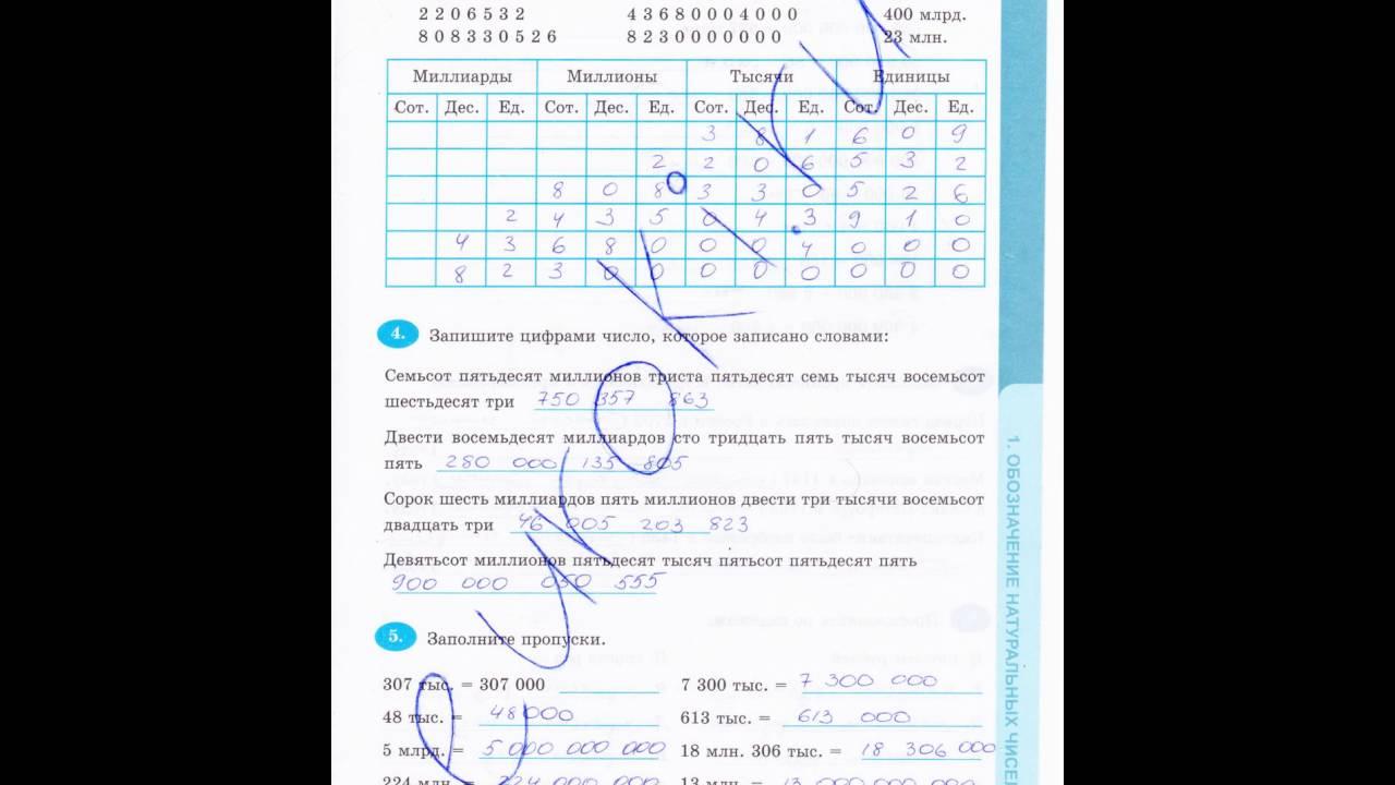 Ответы к рабочая тетрадь по математике т.м.ерина 5 класс с