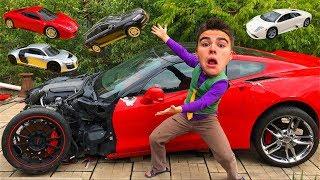 Mr. Joe on Chevy Camaro found Toy Cars Ferrari & Lamborghini & Audi R8 in Big Corvette for Kids