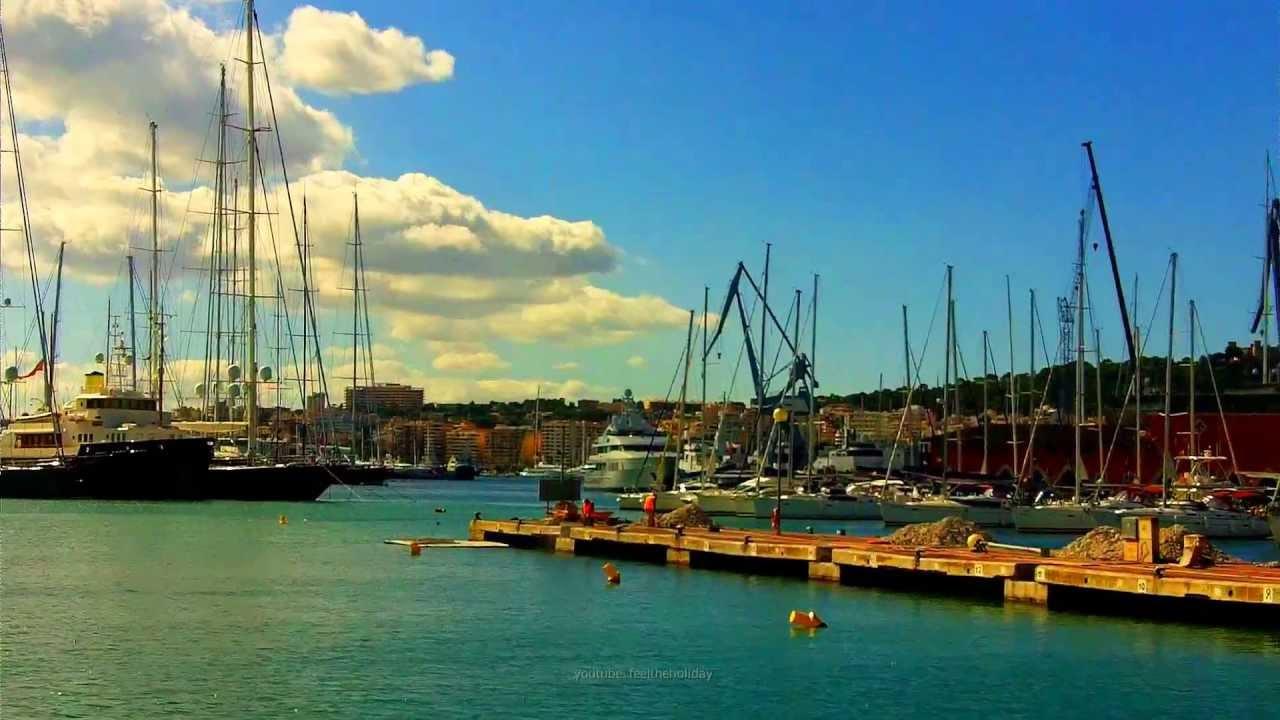 Segelyachten  Segler Video. Die Masten der Mega Segelyachten im Hafen von Palma ...