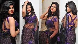 Telugu New Actress Alekya Saree Photoshoot Photos 2018