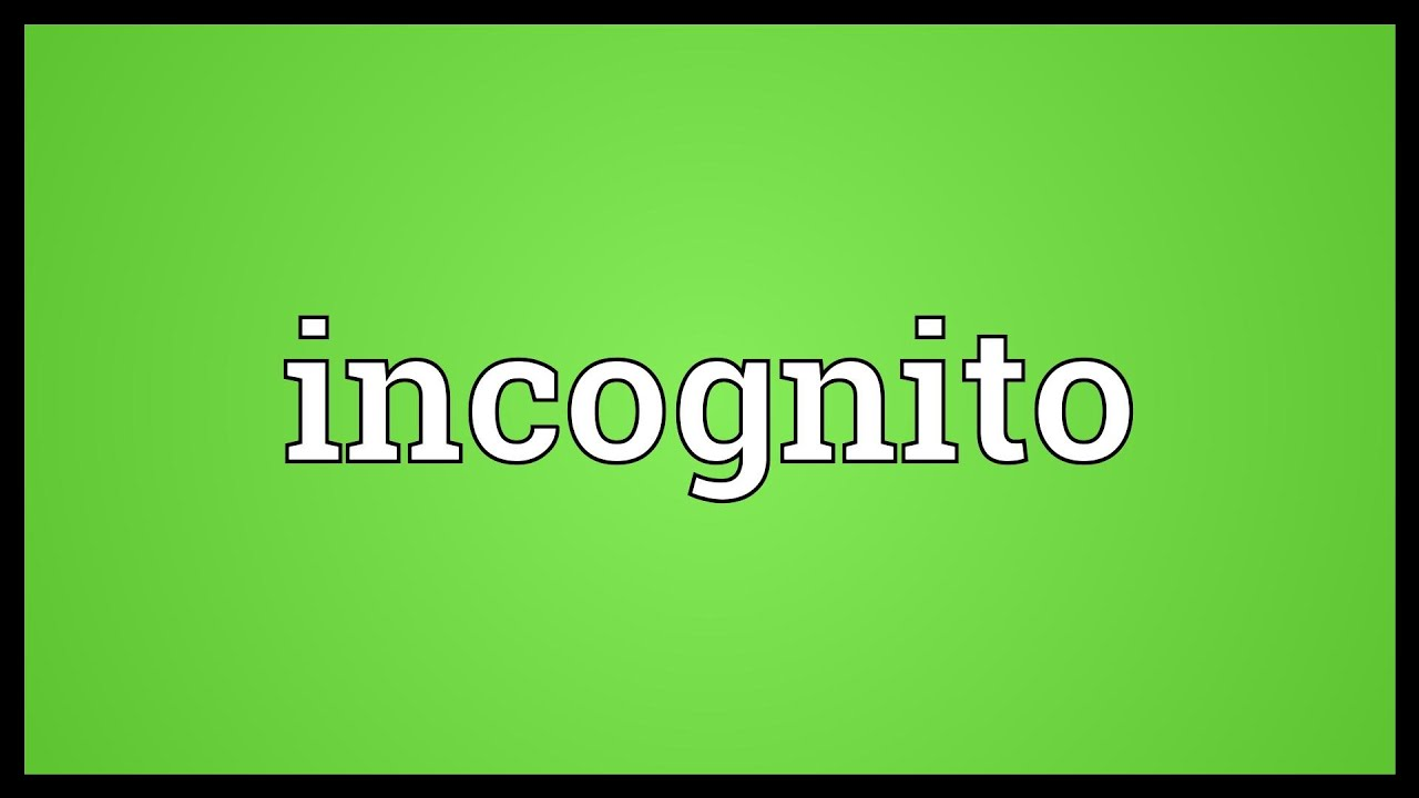 Incognito Meaning Youtube