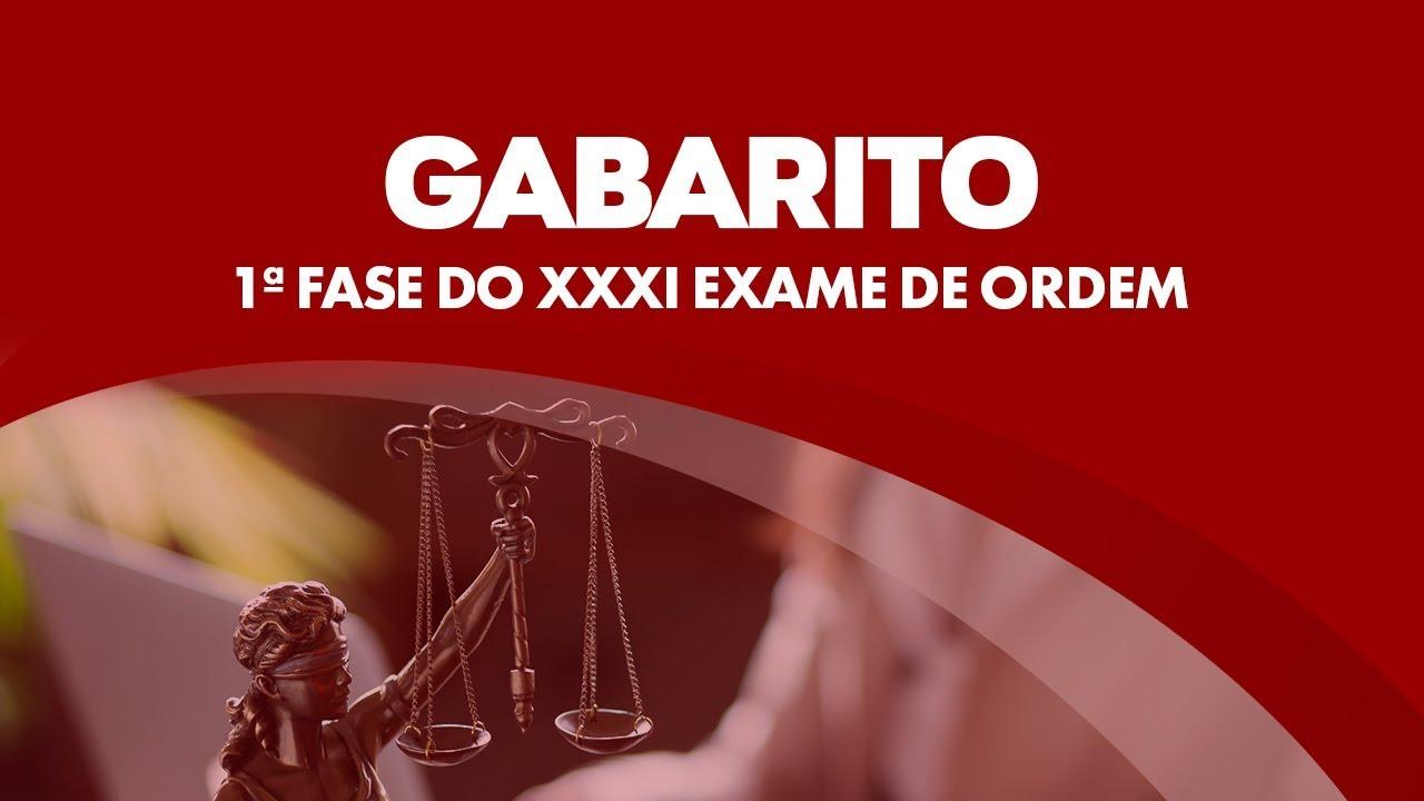 Resultado de imagem para DIVULGADO O GABARITO DO XXXI EXAME 1ª FASE DA OAB 2020