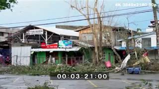 Lightning Filled Eye Wall, Strong Wind, Damage and Flooding - Typhoon Haima 4K Stock Footage thumbnail