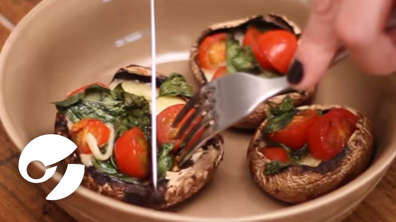 receta de hongos portobello rellenos de espinacas