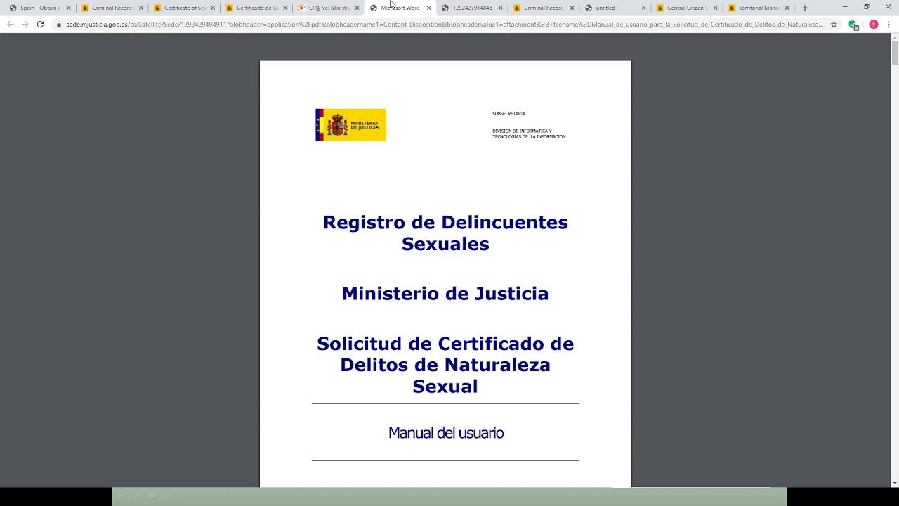 Spain - Obtain a Police Clearance Certificate (Criminal