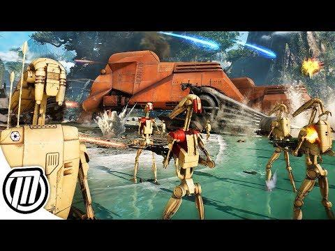 Star Wars Battlefront 2 HUGE Battle of Kashyyyk CLONE WARS GAMEPLAY