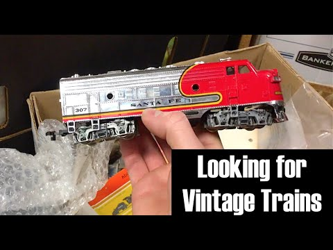 Looking for Vintage Trains & Locomotives in Old Boxes at a Train Store