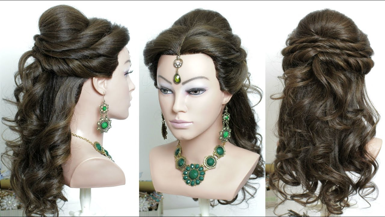 Curly Prom Bridal Hairstyle For Long Hair Tutorial Youtube