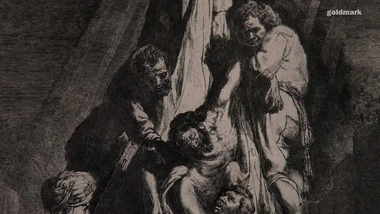 "Rembrandt's orignial etching ""The Descent from the Cross ..."
