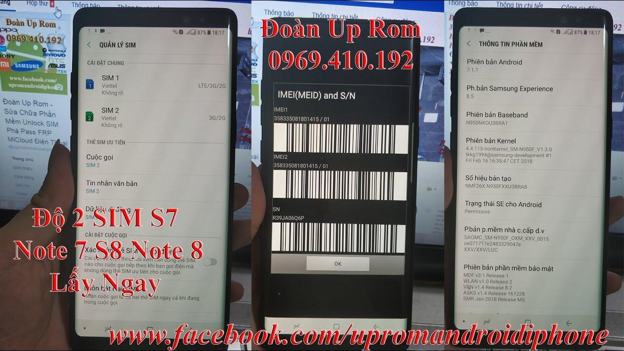 Điện thoại/Tablet - Dịch vụ độ lên 2 SIM cho Samsung Note 8 N950N S8
