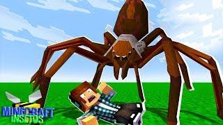 Minecraft Insetos #05 - UMA TARÂNTULA NA MINHA CASA !