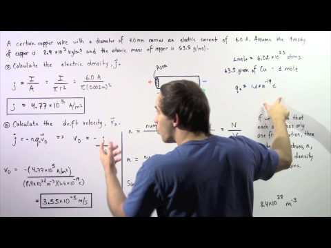 Current Density and Drift Velocity Example