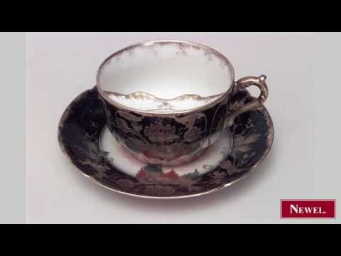 Antique French Victorian blue porcelain mustache cup and