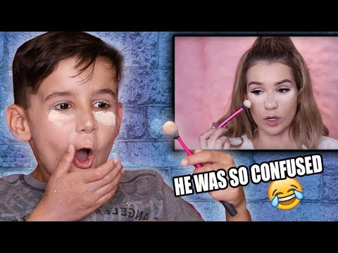 LITTLE BROTHER Tries to Follow My Makeup Tutorial!