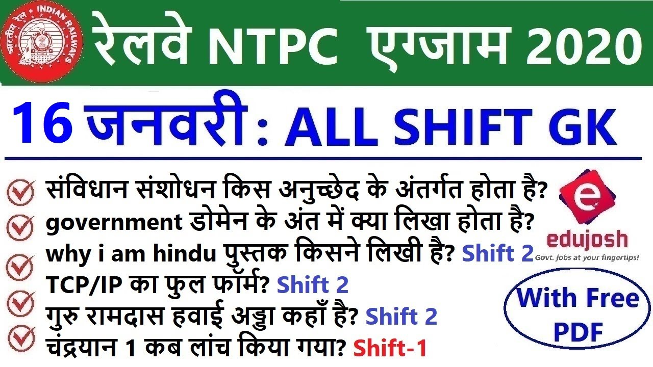 RRB NTPC Exam Analysis 2020 / RRB NTPC 16 January 2021 - ALL Shift Asked Question / RRB Exam Review