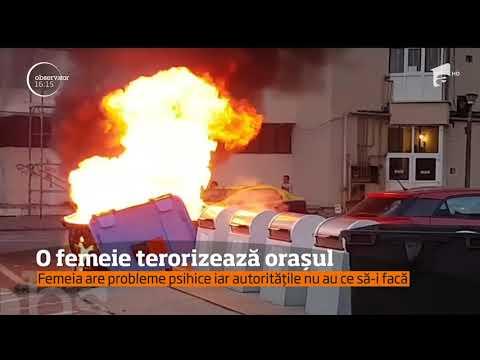 O femeie cu probleme psihice terorizează un oraşul Târgu Jiu
