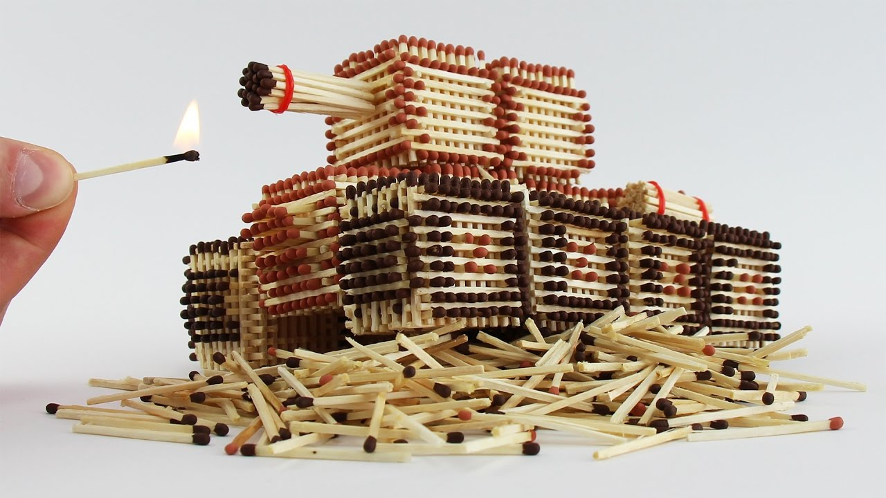 How to Make a Tank from Matches Without Glue ! Will I Burn it ?