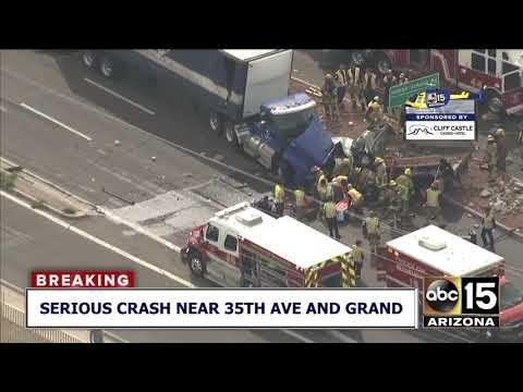 Dump truck, semis involved in Phoenix crash
