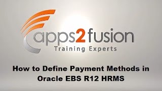 This demo video tutorial covers the topic- what is payment method, methods, types of methods and how to create them on oracle hrms r12 instan...