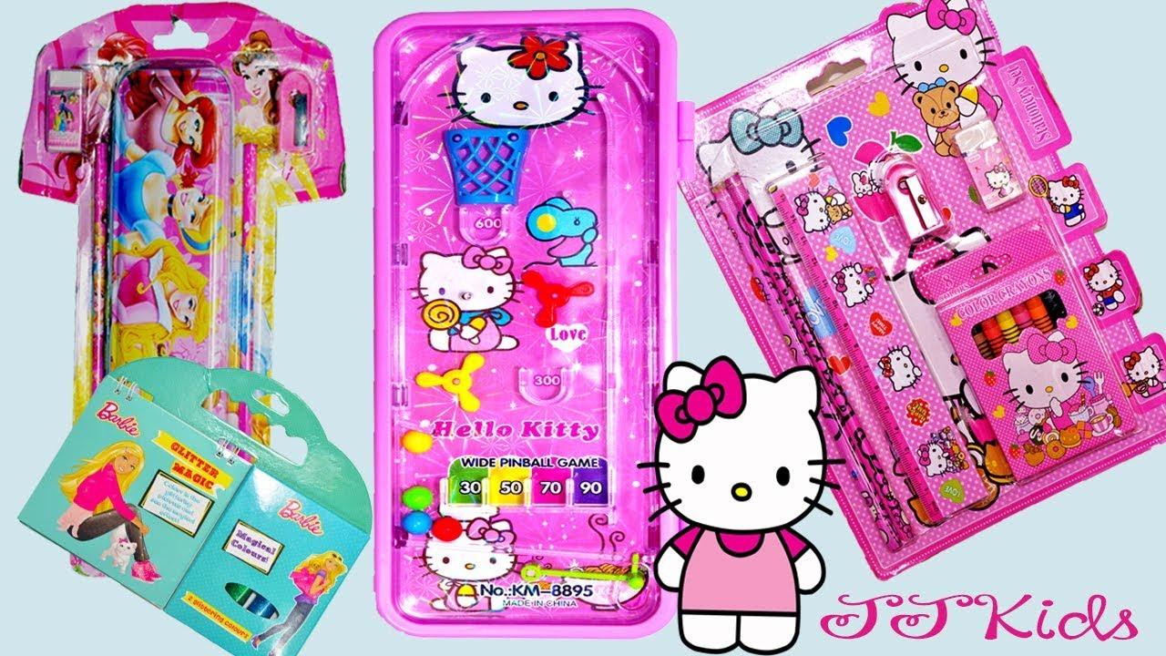 Hello Kitty Pencil Box With Pinball Game Password Lock And Disney Princess School Stationery Set