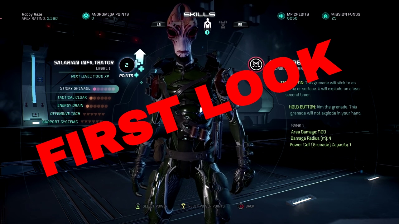 Mass Effect Andromeda Multiplayer: Salarian Infiltrator - Skill Tree First  Look & Build Ideas