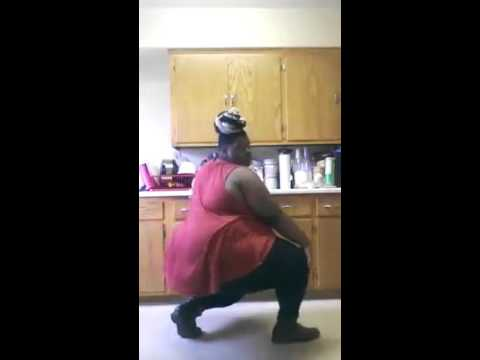 Fat woman dancing