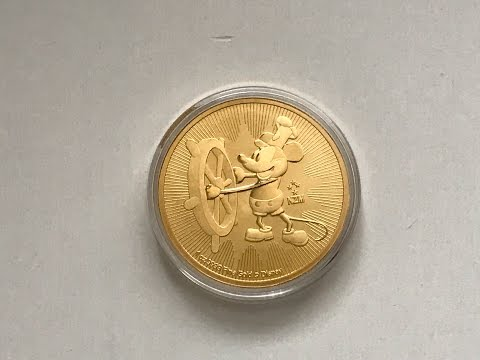 2017 New Zealand Mint Disney Steamboat Willie 1 oz Gold Coin