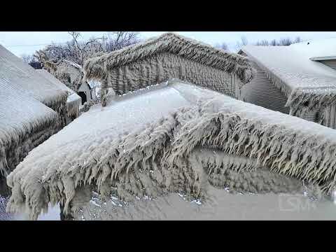 2-29-2020 Hamburg, NY aerial footage of Ice encased houses along Hoover Beach
