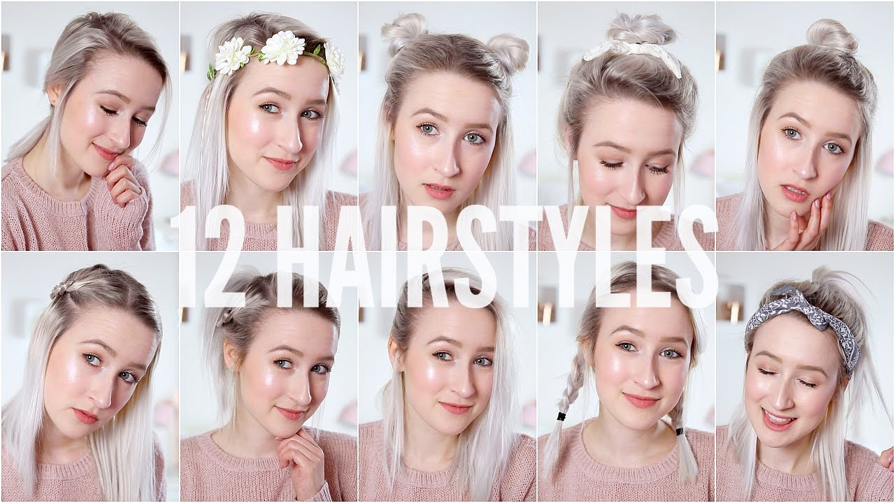 12 EASY HEATLESS HAIRSTYLES - Short / Medium Hair
