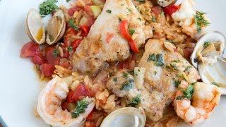 Chicken And Shrimp Orzo Paella - Skillet Dinners