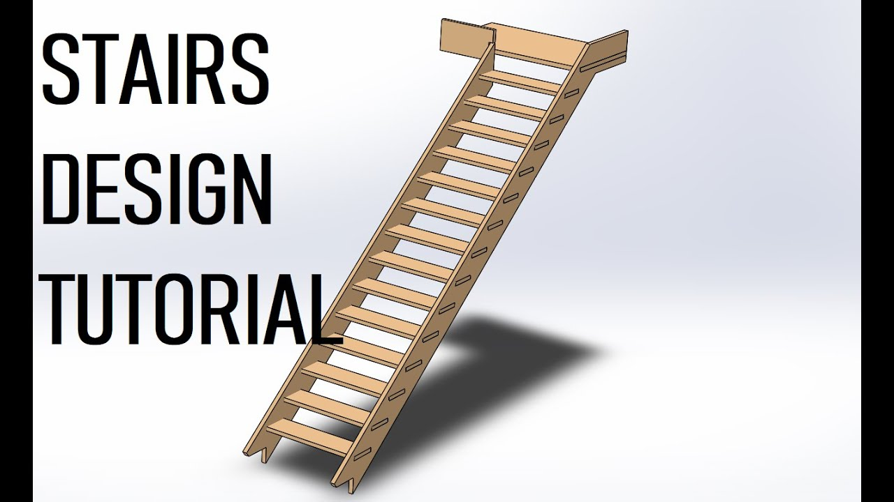 Video Wooden Stairs Design Tutorial Solidworks 2018 Grabcad   Simple Wooden Staircase Designs   Decorative   Classic Wood   Contemporary   Space Saving   Traditional