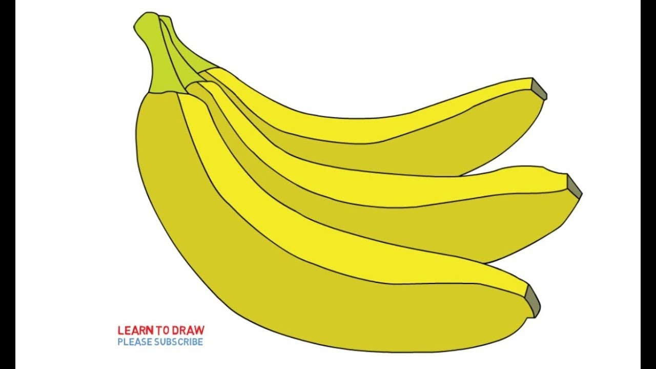 How To Draw A Banana Step By Step Easy For Kids Youtube
