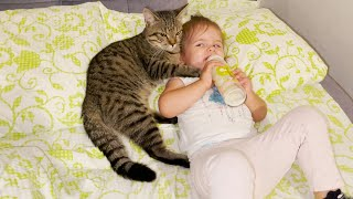 Cute Moments of Baby and Cat Before a Sweet Sleep [CUTENESS OVERLOAD]