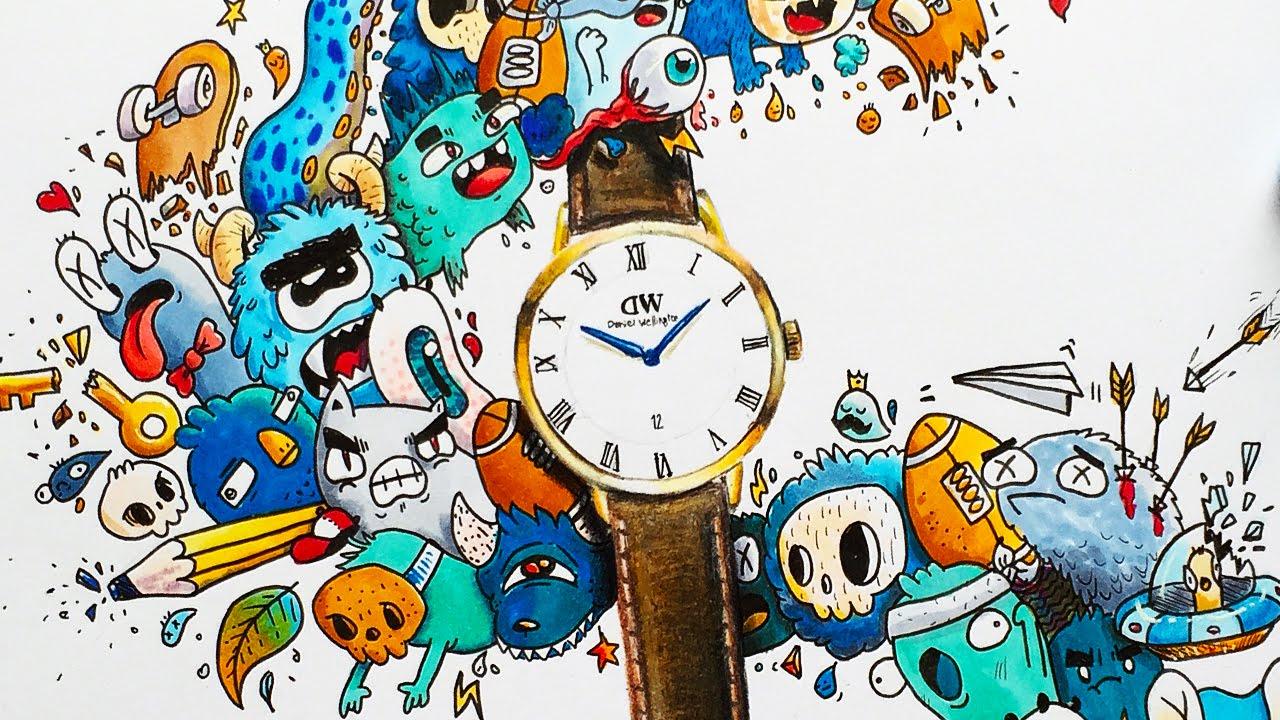Marker doodles pictures - paravane for mackerel fish picture