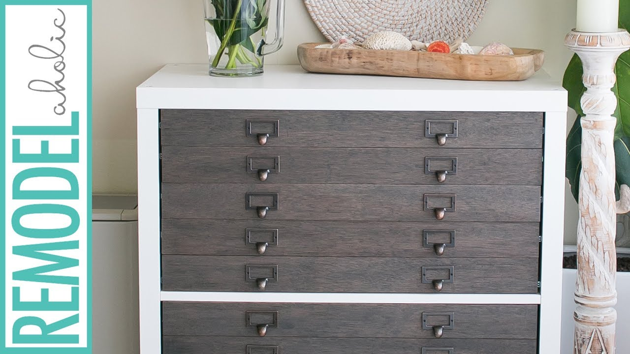 IKEA Hack Kallax Shelf To Flat File Cabinet + Drawers