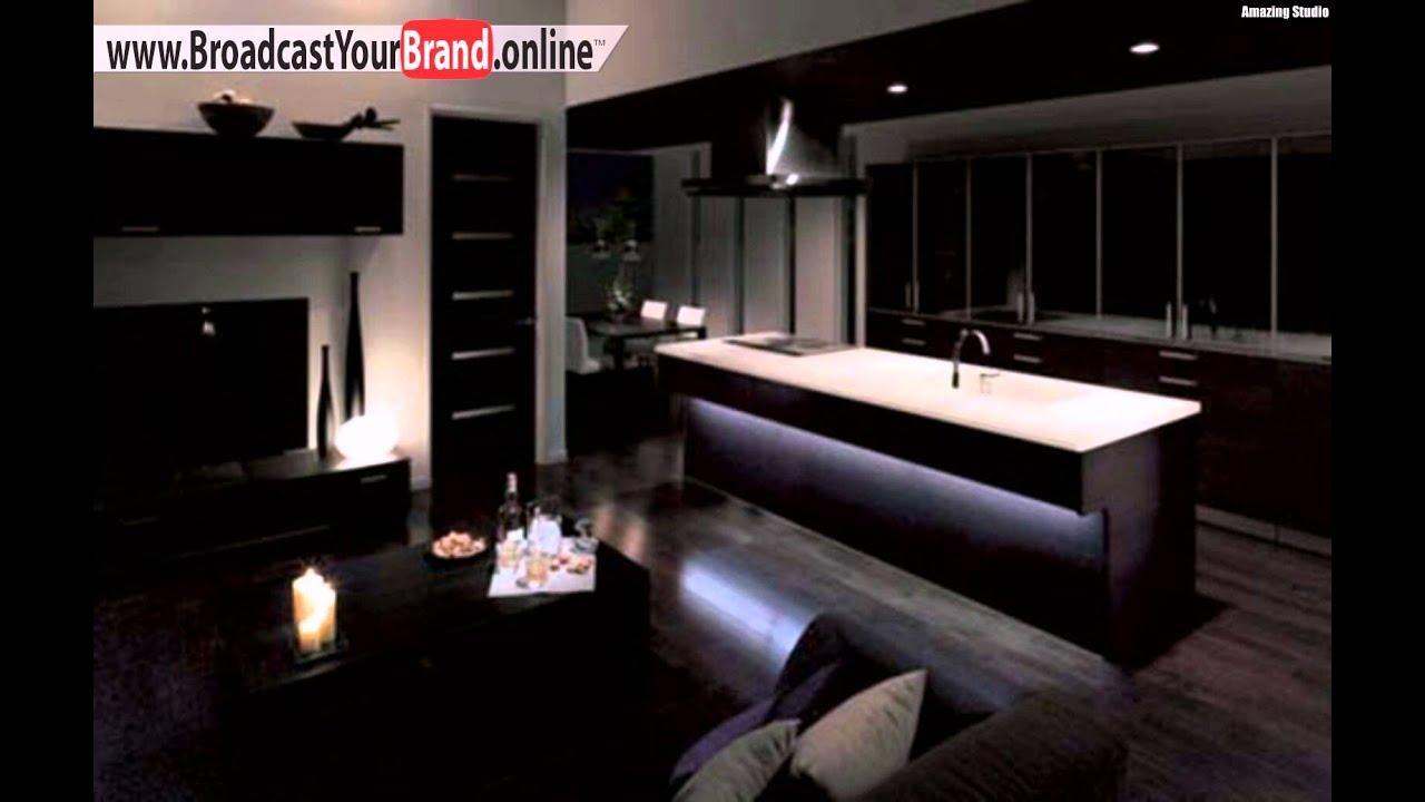 Puristische Braune Moderne Kücheninsel Wohnzimmer - YouTube